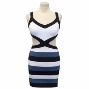 BCBGMaxazria Blue Cutout Bandage Dress